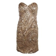 Forever Unique Womens Gold All Over Sequinned Strapless Dress found on Polyvore