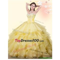 Popular Beaded and Ruffled Big Puffy Quinceanera Dress in Yellow ($151) ❤ liked on Polyvore featuring dresses, puffy dresses, yellow ruffle dress, flutter-sleeve dress, puff dress and beige cocktail dress