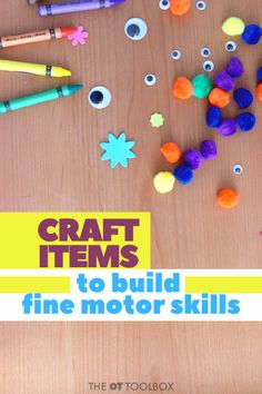 Wondering what kids craft supplies you need to help kids build skills? Use these therapist-recommended craft items in therapy or DIY craft kits. Kids Craft Supplies, Craft Kits For Kids, Crafts For Kids, Quick Crafts, Craft Stick Crafts, Craft Activities, Motor Activities, Therapy Activities, Craft Items
