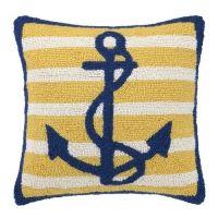 Anchor - Navy on Yellow / White Stripe Hook Pillow