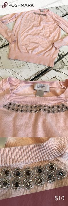 LOFT sweater Super cute with beaded detail on neck line! Love it! Good used condition LOFT Sweaters Crew & Scoop Necks
