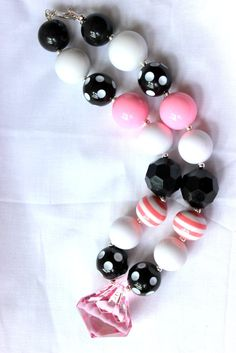 girls chunky bubblegum bead necklace pink by LightningBugsLane, $15.00