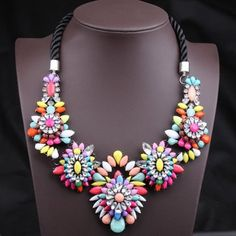Unique Colorful Gemstone Flower Pendants Women s Fashion Rope Necklace Colorful Black (Unique Colorful Gemstone) by www.irockbags.com