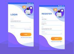 Meddu app redesigned  colorful login register | illustrated modern login pages | youth login app design | android design | ios design Form Design Web, Login Design, App Ui Design, Mobile App Design, Mobile Ui, Interface Design, Page Design, Design Android, Android Ui