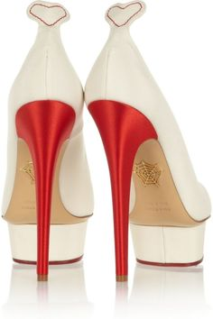 "{Charlotte Olympia ""Love Dolly"" Silk-Twill Pumps}"