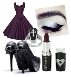 """Untitled #17"" by ravenelesig ❤ liked on Polyvore featuring Kat Von D, Voom, Dark, goth and gothic"