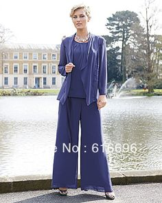 Free Shipping Fashion Blue Crew Neckline  Piping  Chiffon   Mother of the Bride Pant Suits Wedding Mother Suits DH-03 US $90.65