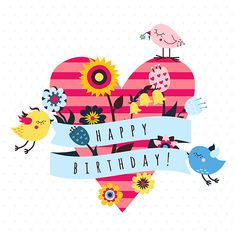 Vector backgrounds and cards with cute cartoon birds on Behance