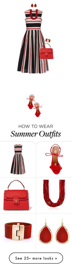 """Striped Dress For Summer"" by ittie-kittie on Polyvore featuring Dolce&Gabbana, Aquazzura, Barse, Ross-Simons, Leighelena, summerstyle, stripeddress and summerfashion"