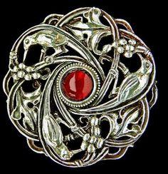 Guild of Handicraft Bird Brooch, Silver & garnet, 1900
