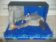 Andrew's grade Diorama - Island of the Blue Dolphins 4th Grade Ela, 4th Grade Science, Science Fair, Diy Projects To Try, Projects For Kids, Reading Fair, Dolphin Art, Animal Habitats, Delphine