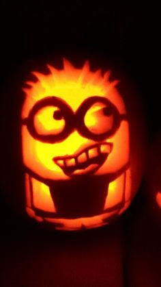 Minion pumpkin carving!