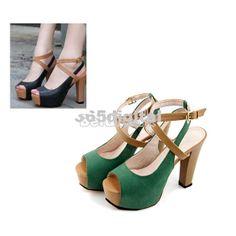 Women Colors Block Thongs Platform Peep Toe Retro High Heels Sandals Shoes