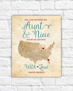 Aunt And Niece Mothers Day Gift For Auntie Birthday Long Distance Family Map