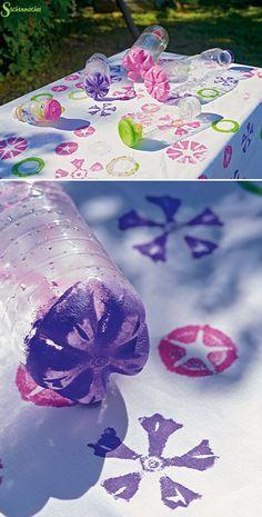 Frühlingsparty! #Blumenstempel für die lustige #Tischdecke