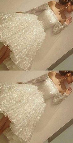 Prom Dresses,Prom Dress,Noble Sparkle White Sequined Lace Prom Dress,Sexy Off The Shoulder Long Sleeves Party Dress