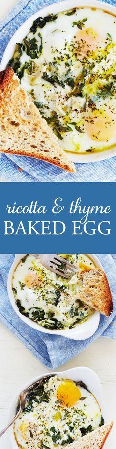 This may be one of the most delicious breakfasts ever! Just mix up the ricotta, chervil, thyme and other flavorings in a small bowl and pour into your ramekins. Crack the eggs on top and bake until done! I like to serve these with some freshly toasted bread, seriously the best way to treat yourself in the morning!
