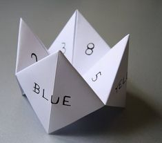 fortune tellers, I forgot what we called them. My kids call the cootie catchers.
