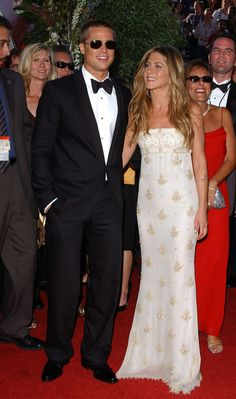 Jennifer Aniston and Brad Pitt Photos Photos: Annual Emmy Awards Brad Pitt Jennifer Aniston, Jennifer Aniston Style, Brad Pitt And Jennifer, Brad And Jen, Jennifer Aniston Photos, Brad Pitt Photos, Marley And Me, Tv Icon, Red Carpet Gowns