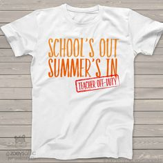 Teacher shirt school's out summer's in off duty crew neck or vneck shirt - great gift for a special teacher MSCL-017 by zoeysattic on Etsy https://www.etsy.com/listing/509728496/teacher-shirt-schools-out-summers-in-off