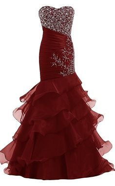 Fashion Mermaid Beaded Organza Formal Gown Long Evening Prom Dresses