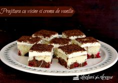 A delicious sour cherry cake with vanilla pastry cream and chocolate