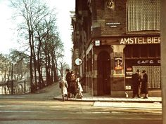 "1943. A view of the corner Utrechtsestraat and Prinsengracht in Amsterdam during the German occupation. The sign in the lower left corner of the café window reads: ""Jews Not Allowed"". Photo Stadsarchief Amsterdam / Frits Rotgans. #amsterdam #worldwar2 #Utrechtsestraat #Prinsengracht"