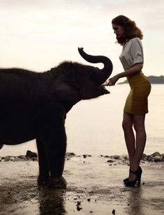 Samantha Gradoville photographed by Sean & Senglove in Thailand. love the outfit. love the place. love the animal