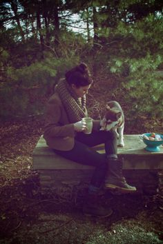 I want to be in this image sipping something warm on a cold morning with a cute pooch in the woods. Perfect.