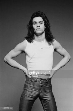 Eddie Van Halen, guitarist with US hard rock band, Van Halen, poses for a studio portrait, in 1978.