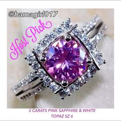 """♓️️3 CT PINK SAPPHIRE & WHITE TOPAZ SS RING ♓️️ by @sarajane for """"Weekend Uniform"""" Party!!3 CARATS PINK SAPPHIRE, WHITE TOPAZ, GENUINE 925 SOLID STERLING SILVER RING SIZE 6. ITEM IS STAMPED 925. ️️TradeLow-balling Jewelry Rings"""