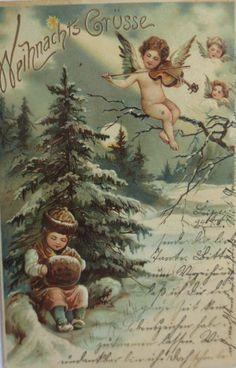 Weihnachten, Engel, Violine, Muff, Kinder  1902,Prägekarte ♥  (4564)