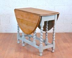 Barley Twist Drop Leaf Dining Table Solid Oak Gate Leg Shabby Chic - Ergonomic Folding Space Saving!