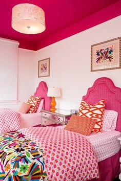 I like the idea of painting the top of the walls and ceiling a color and decorating with the same colors, rather than all of the walls. Nice way to add color without feeling surrounded by it.
