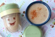 Banana, Coconut Milk and Cinnamon Puree: Making your own baby food is so easy and cost efficient! I love knowing that this tiny body I helped create will now be eating food that I prepare. Baby Bullet makes it so easy with their travel containers, so you can be stocked up for the whole week.