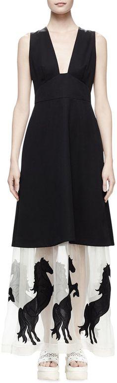 Stella McCartney Sleeveless Tuxedo Dress W/Horse Hem, Black
