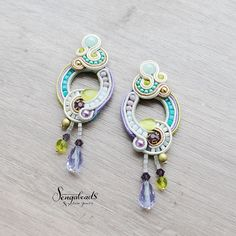 Hand embroidered soutache stud earrings with cream by Sengabeads