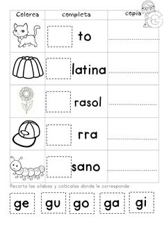 Spanish Lessons For Kids, Spanish Teaching Resources, Science Worksheets, Writing Worksheets, Bilingual Classroom, Rhyming Words, Kids Writing, Home Schooling, Childhood Education