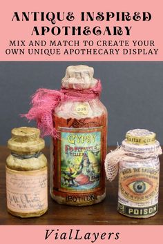 Create your own miniature apothecary. Miniature bottles decoupaged in many different styles with an old-world aesthetic. For more styles of handmade poisons and potions visit VialLayers on Etsy. Potion Bottle, Bottle Art, Unique Home Decor, Home Decor Items, Halloween Themes, Halloween Decorations, Apothecary Decor, Decorative Bottles, Poisons