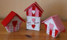 These are felt but what a sweet color scheme this would be to paint those little wooden $1 birdhouses