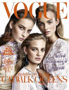 Vogue Netherlands April 2015. Julia Bergshoeff, Ine Neefs en Maartje Verhoef by Alique.