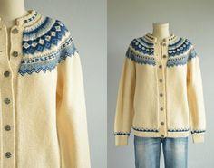 Vintage Nordic Wool Fair Isle Cardigan / 70s Hand by zestvintage