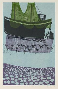 'Sussex Boats and Nets by English artist Robert Tavener Linocut, edition of via Government Art Collection Linocut Prints, Art Prints, Nautical Art, Gravure, Woodblock Print, Screen Printing, Illustration Art, Illustrations, Street Art