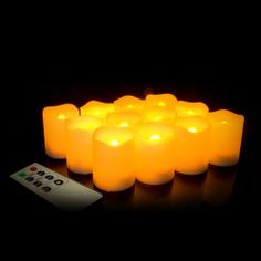 2 Inch Flameless Remote Control Votive Candles - Cream - 12 Pack - Coolglow.com