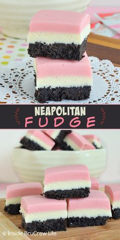 Neapolitan Fudge - a chocolate cookie crust with layers of strawberry and vanilla fudge on top make this the best fudge. Such an easy recipe to make for parties! Neapolitan Fudge Inside BruCrew Life brucrewlife Oh Vanilla Fudge, Vanilla Cookies, Homemade Fudge, Homemade Snickers, Homemade Marshmallows, Easy No Bake Desserts, Delicious Desserts, Valentine's Day Quotes, Candy Recipes