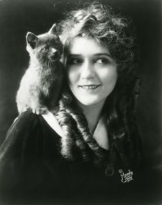 Silent-movie actress Mary Pickford and feline Silent Film Stars, Movie Stars, Crazy Cat Lady, Crazy Cats, Patricia Highsmith, Celebrities With Cats, Celebs, Animal Gato, Mary Pickford