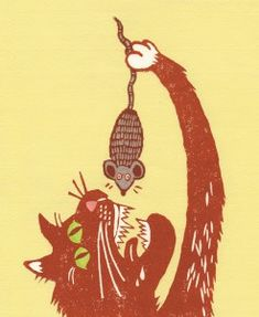 """The cat and the mouse, from children's book """"Når Tussalusi kviskrar """" Childrens Books, Illustrations, Christmas Ornaments, Holiday Decor, Cats, Home Decor, Children's Books, Gatos, Decoration Home"""