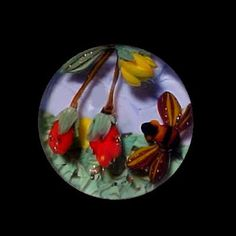 Glass Paperweight Bee w/ Strawberries Button by MiniaturesinGlass,