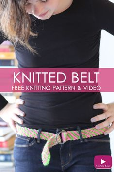 Looks great! How to Knit a BELT - Free Knitting Pattern + Video with Studio Knit #StudioKnit #knittingpattern #knittingidea #belt