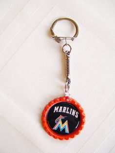 Miami MARLINS Baseball Keychain  FREE SHIPPING by ZZsTeamTime